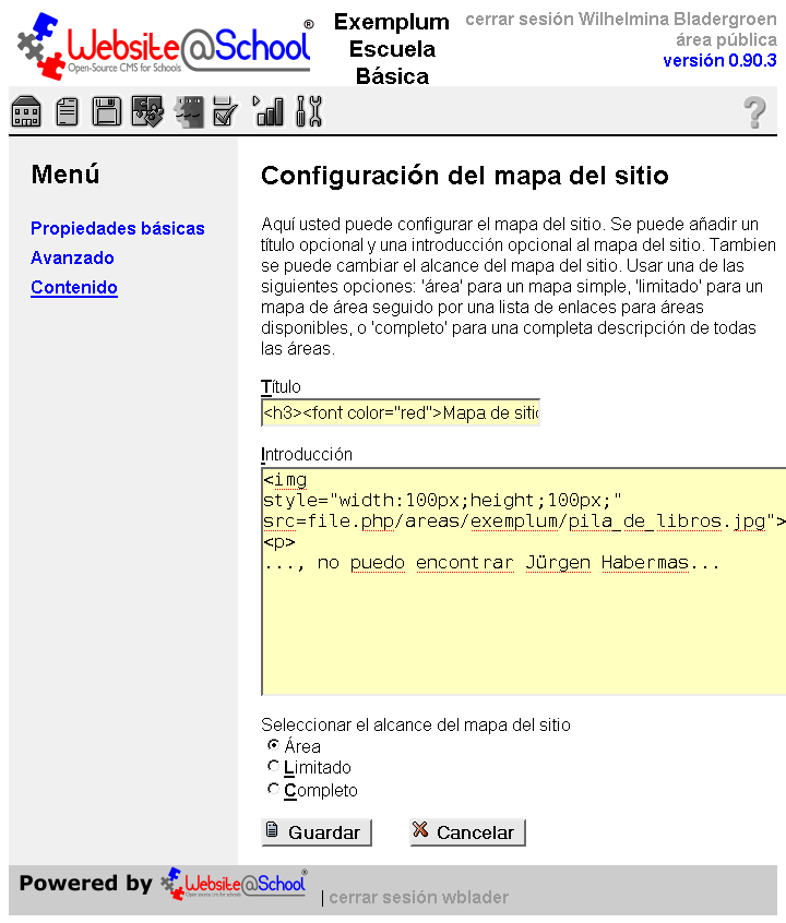 Web Sitemap Page: Page Manager
